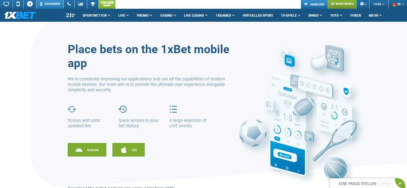 1xBet App für Android