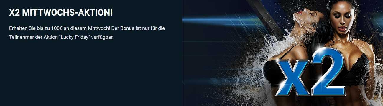 """1xBet Bonus """"Mittwoch – Wir multiplizieren mit 2"""""""